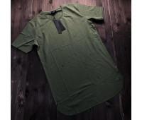 """Удлиненная футболка мужская цвета Хаки, """"ESKI 1"""""""